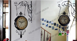 Wholesale LLFA334 Wrought Iron Wall Clock Fashion Nostalgic Vintage Double Faced Clock Silent Movement Antique Iron Double Faced Clocks Home