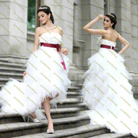 Wholesale 2014 New Fashion Bridal Wear Strapless Beads Flowers Wine Red Sash Romantic Tulle Ruffle Hi Lo Beach Garden Colorful Corset Wedding Dresses