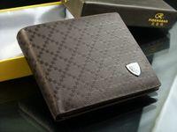 Wholesale Coffee Brown Leather Mens Fashion Designer Wallet Clutch Bifold Purse Free Ship