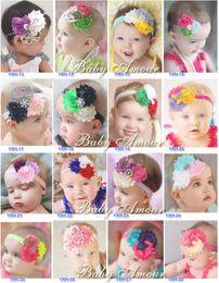 Wholesale Baby Girl Chiffon Rose Flower Headbands Girl Shabby Diamond Rhinestone Sequin Bows Rags Flower Headbands Headwear Headdress Style