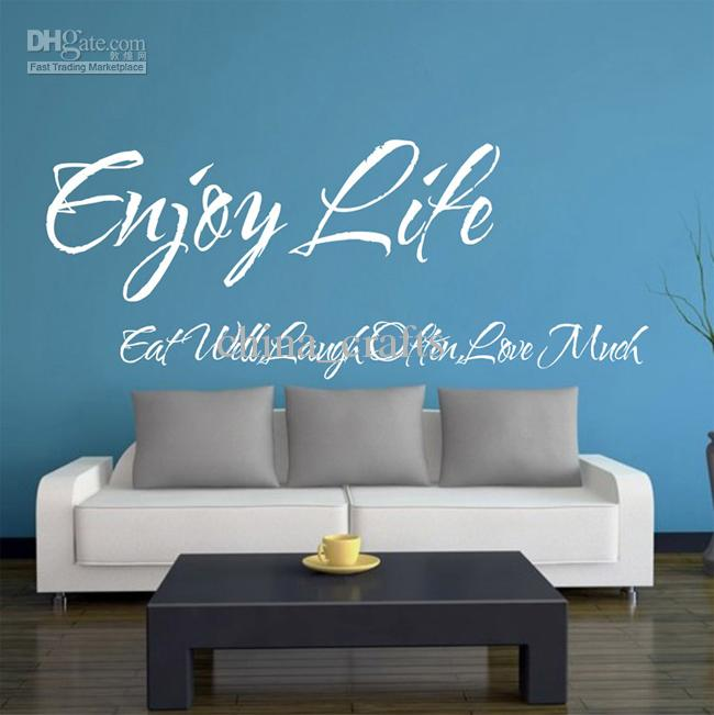 New listing enjoy life wall quotes vinyl wall stickers for Living room quote stickers