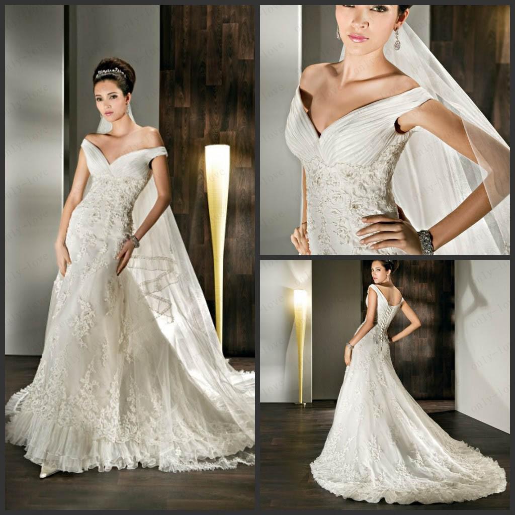 Vintage ivory mermaid wedding dresses off shoulder for Vintage ivory wedding dresses