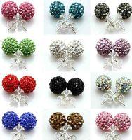 Wholesale 925 Silver mm mm Shamballa Crystal disco Ball Stud Earrings Swarovski pairs Hot