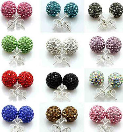 Wholesale 925 Silver mm mm Shamballa Crystal disco Ball Stud Earrings Swarovski pairs Hot