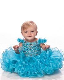2016-2017 Lovely Short Cupcake Tutu Ball Gown Modest V-Neck Adorable Flowers Iridescent Crystal Hunter Organza Infant Girls' Pageant Dresses