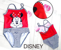 Wholesale branded girls Minnie Mouse one piece stripe swimwear children cute cartoon swimsuit free s