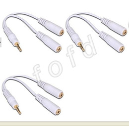 Wholesale 3 mm Headphone Earphone Y Splitter Adapter Cable Jack One mm stereo male plug to two mm female jack cable