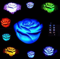 Wholesale 50pcs Changing Color Floating Rose Flower Candle lights LED with AG13 coin battery