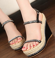 Wholesale 3 Colors size to Sexy stylish Bohemian Straw Chain platform wedges fashion sandals