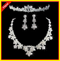 Wholesale 2013 Fashion In Stock Rhinestone Crystal Jewelry Necklace Earrings Sets Wedding Bridal Dresses Dress Gown