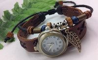 Wholesale Love Key Handmade Brown Leather Bracelet Retro Style Wristwatch Unisex
