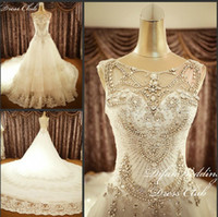 Wholesale Luxurious White Lace Crystals Beading Princess Organza Royal Cathedral Train Wedding Dresses