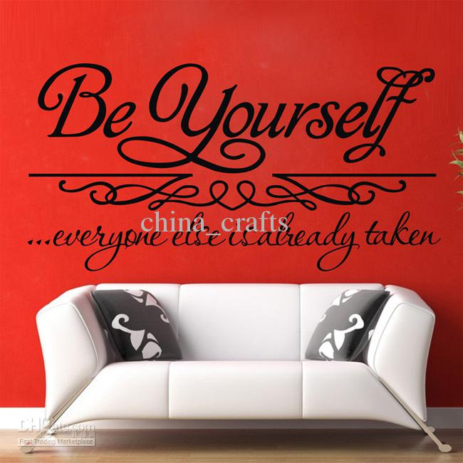 New listing be yourself wall quotes stickers 36x72cm wall for Living room decor quotes
