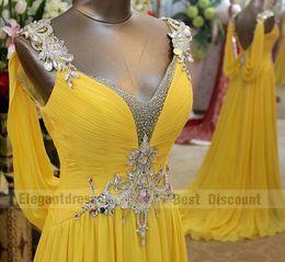 2018 A-line Sexy crystal evening dresses sweep train amazing V neck chiffon Prom Dresses tb003