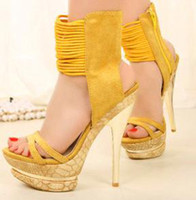 Wholesale Stiletto heel yellow womens gladiator sandal Platform Ankle Strappy Sandals size to