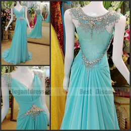 Cheapest dress 2016 A-line Sexy gorgeous crystal evening dresses sweep train amazing chiffon Prom Dresses tb006