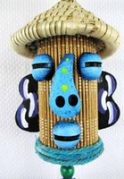 Bamboo wind chime - Candy colors big nose straw hat men windbell Chinese handmade bamboo tube pendants home decorations hotel wind chime t5246
