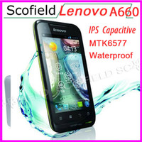 Wholesale Lenovo LePhone A660 Android Cell Phone Inch MTK6577 Dual Core Waterproof Dustproof Shockproof Smart Phone MB G Andrid