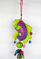 leather  wind chime - China Dongba culture gifts folk arts and crafts fashion colorful fish wind chime bag bells pendants home car hanging t5251