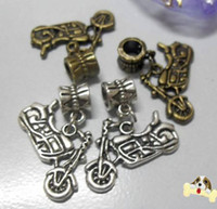 Wholesale 80PCS Alloy Motorcycle Charms Fit Bracelet Ancient Bronze Ancient Silver