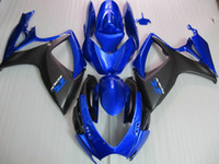 Wholesale High quality injection molded Fairings kit For SUZUKI GSX R600 GSXR750 GSXR K6 Blue flat Black full Fairing ZZ759