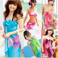 bathing cream - Summer Sexy Hawaiian Dress Women s Beach Wear Swimsuit Bathing suit bikini cover ups Swimwear Sarong Shawl colors Silk