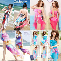 Wholesale Sexy Pareo Dress Sarong Bikini Cover Up Scarf Wrap Swim swimwear Beach Beautiful Charming mix color
