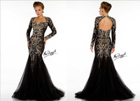 Wholesale 2013 Sexy Black Long Sleeves Tulle Mermaid Evening Dress Lace Beaded Crystal Backless Prom Gown