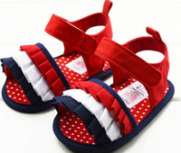 Unisex Summer Cotton 10%off!Cute blue+white+red on sale baby sandals