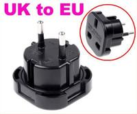 Wholesale UK to EU AC Power Plug Travel Adapter Socket Converter A A V Black color
