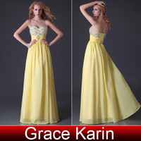 Wholesale New Shining Beading Sequins Prom Dresses Sweetheart A line Party Ball Gown Yellow Blue CL3524