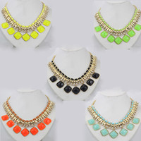 Wholesale Beautiful rhinestone statement necklace colorful collar necklaces high quality women s jewelry LM N124