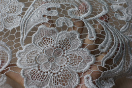 Wholesale silver dress fabrics cm Embroidered for silver metallic hollow embroidery lace fabrics fashion and hot by yard