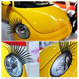 Wholesale 2016 new brand a pair Cool Fashion Car Eyelashes PVC Logo Stickers Lashes Decal Accessories Hot