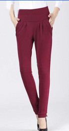Wholesale Wine red new casual women s trousers pants plus size slim skinny harem pant colors Size S XXXL