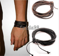 Unisex Fashion Bracelets 2013 Fashion Jewelry Wrap Multilayer Genuine Leather Bracelet with Braided
