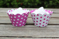 Wholesale Polka Dot Cake Cupcake Wrappers Wraps Sleeves COLLARS SKIRTS Muffin Cup Cake Wraps