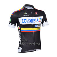 Wholesale Pro team COLOMBIA cycling jersey made with polyester cycling wear drop shipping accepted