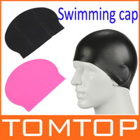 Wholesale Durable Stylish Sport Sporty Latex Swimming swim Cap Hat Black Hot pink H8330 Series