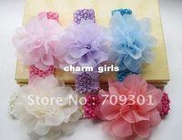 Headbands 1.5 crochet headbands - quot Chiffon Flower Headbands With Crochet Headbands Baby Headbands Mixe