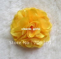 "Cheap 3"" Hair Accessories Satin Mesh Flower Without Hair Clips Rose Flowers 16 Colors 100Pcs"