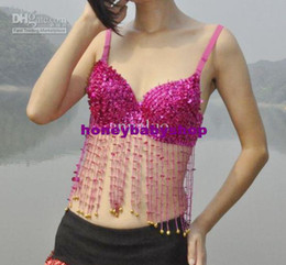 Wholesale 4 Colors Stage Clothing Latin dance Belly Dance Costume Full Sequined tassels Bra