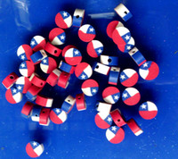 Wholesale 1000pcs per red blue and white round good national flag polymer clay jewelry loose beads for bracelet and necklace mix order DIY