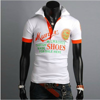 Wholesale 2013 summer new cotton t shirts male short sleeved T shirts men s fashion letters Slim polo shirts