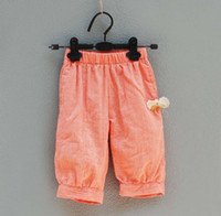 Wholesale Children Casual Pants Fashion Knickerbockers Linen Pants Casual Wear Girls Cute Bowknot Casual Pants Kids Summer Trouser Child Clothing Wear