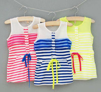 TuTu Summer A-Line Jumper Skirt Kids Wear Chiffon Dresses Baby Summer Dress Child Clothes Fashion Princess Dresses Girls Cute Stripe Dress Children Clothing