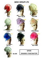 Wholesale Sinamay hat feather Fascinator for wedding Derby colors black red pink royal navy purple yellow