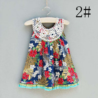 3T-4T Summer Sleeveless Jumper Skirt Girls Cute Lace Embroidered Collar Dresses Baby Summer Dress Kids Wear Flower Dresses Fashion Princess Dress Children Clothing