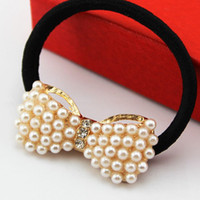 Wholesale Grace Pearl Bowknot Girl s Hair Rubber Bands Children s Hair Accessories for Women HJ026
