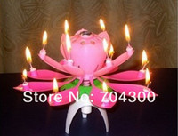 Wholesale Wedding Birthday party gift Flower Music Candle Lotus style New Lotus Music Candles Lotus Petal MYY4323